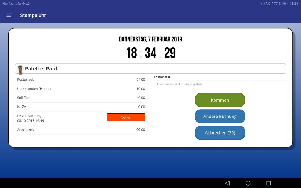 TIMEOS Stempeluhr-App